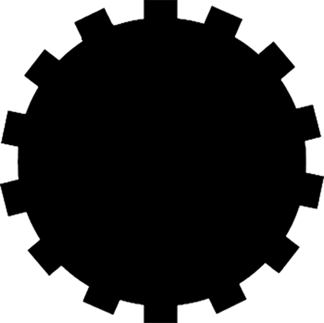16 Inch Black Cog Decal