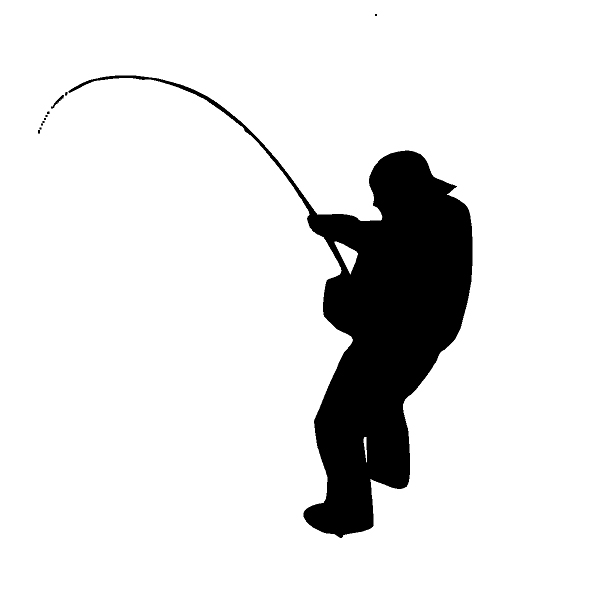 Fisherman With Poll Catching A Fish Decal