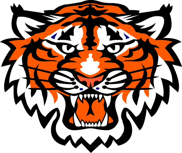 Tiger head team mascot color vinyl sports sticker. Customize as you ...
