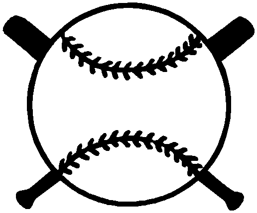 Crossed Baseball Bat Logo 1a2- baseball with bats decal