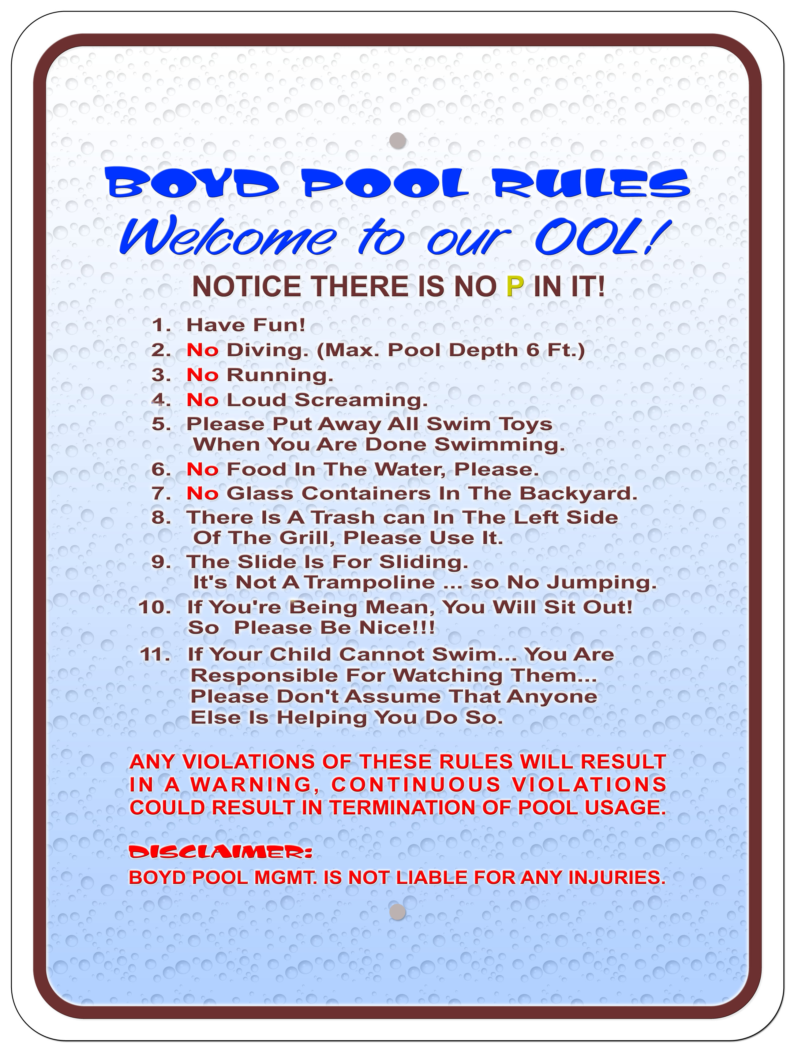 Journal Of Sign Designs And Proofs 187 Boyd Pool Rules Sign